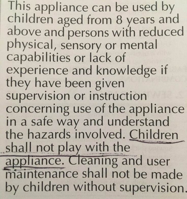 Children shall not play with the appliance